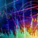 Data analyzing in stock market: the charts and quotes on display. Analytics